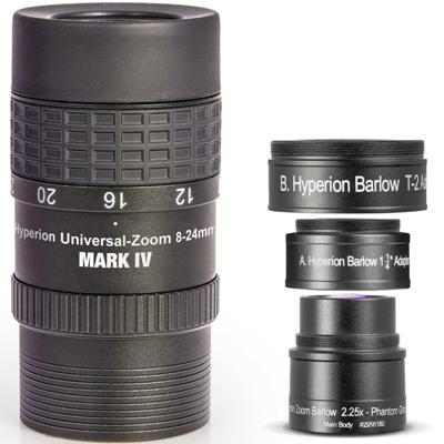 Baader Hyperion Universal Zoom Mark IV 8-24mm Eyepiece & 2.25x Hyperion Barlow
